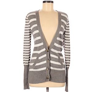 AMERICAN EAGLE TAUPE STRIPED BUTTON UP CARDIGAN M